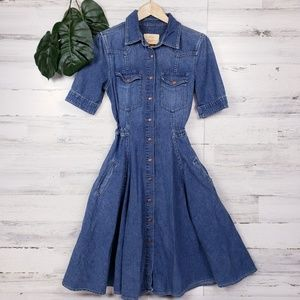 Levi's Snap Front Denim Midi Length A-Line Dress